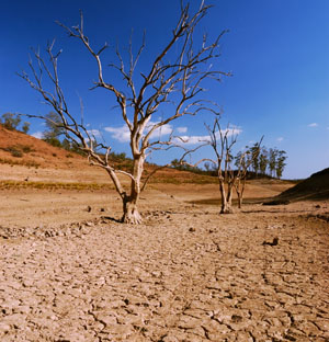 Extremely dry lake